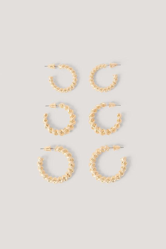 3-Pak Masywnych Okrągłych Kolczyków Gold