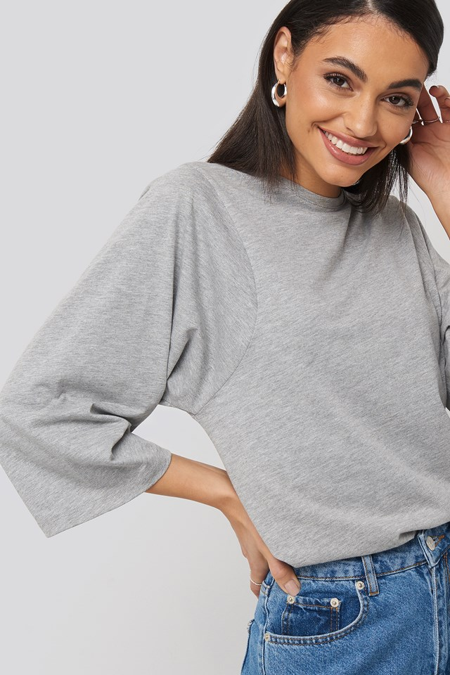3/4 Sleeve Oversized Tee Grey Melange