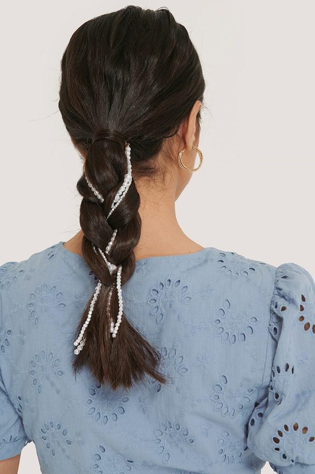 White 3-pack Beaded Hair Jewellery