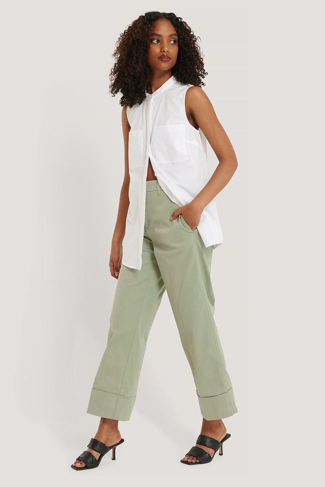 Green Turn-up Cuff Pants