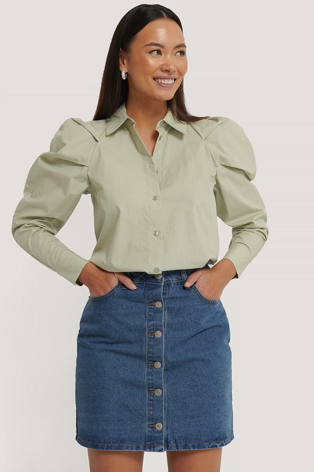 Mid Blue A-line Buttoned Denim Skirt