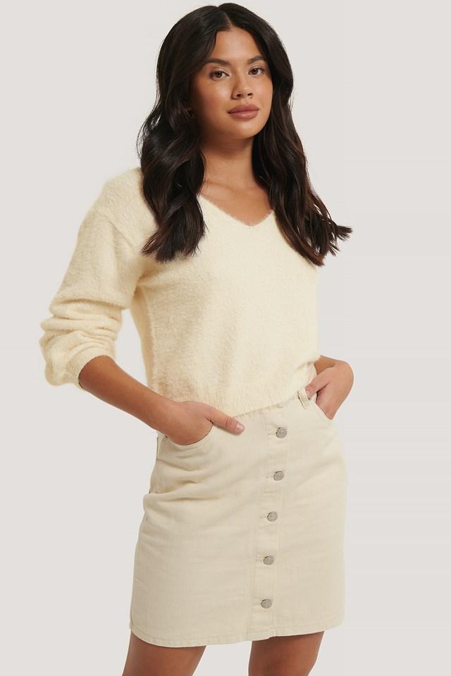 Ecru A-line Buttoned Denim Skirt