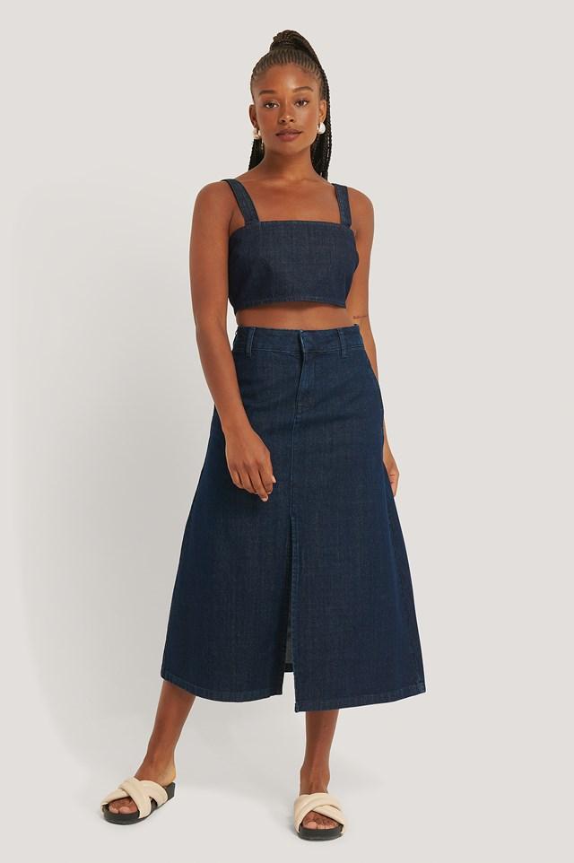 Dark Blue A-line Midi Denim Skirt