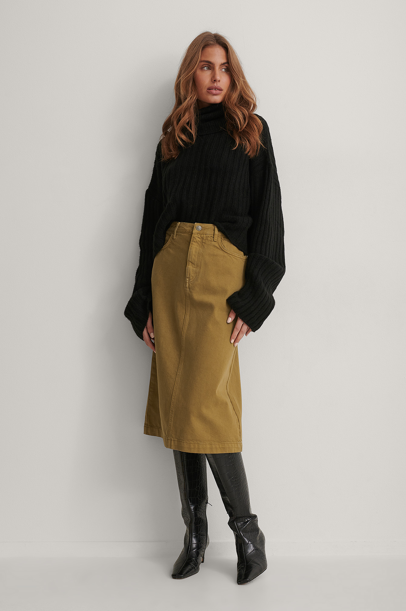 Olive A-line Midi Denim Skirt