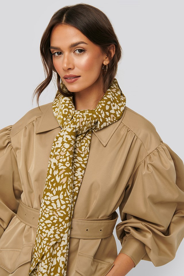 Abstract Leopard Scarf Khaki