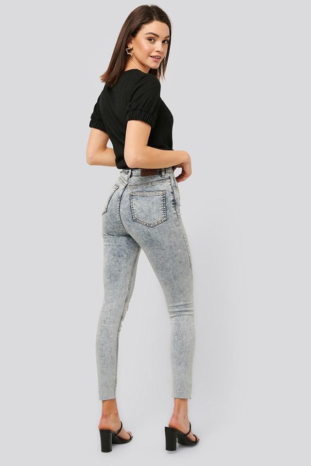 Acid Wash Skinny Jeans Light Blue