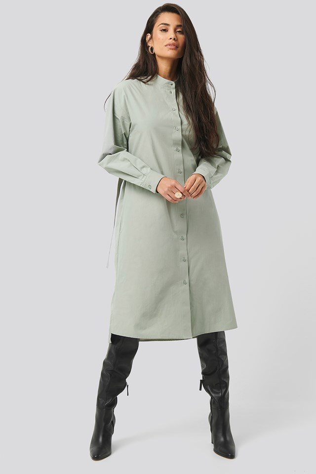 Green Adjustable Side Strap Shirt Dress