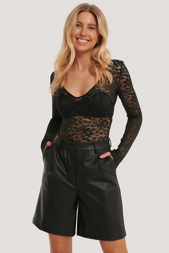 Long Sleeve Lace Body Black