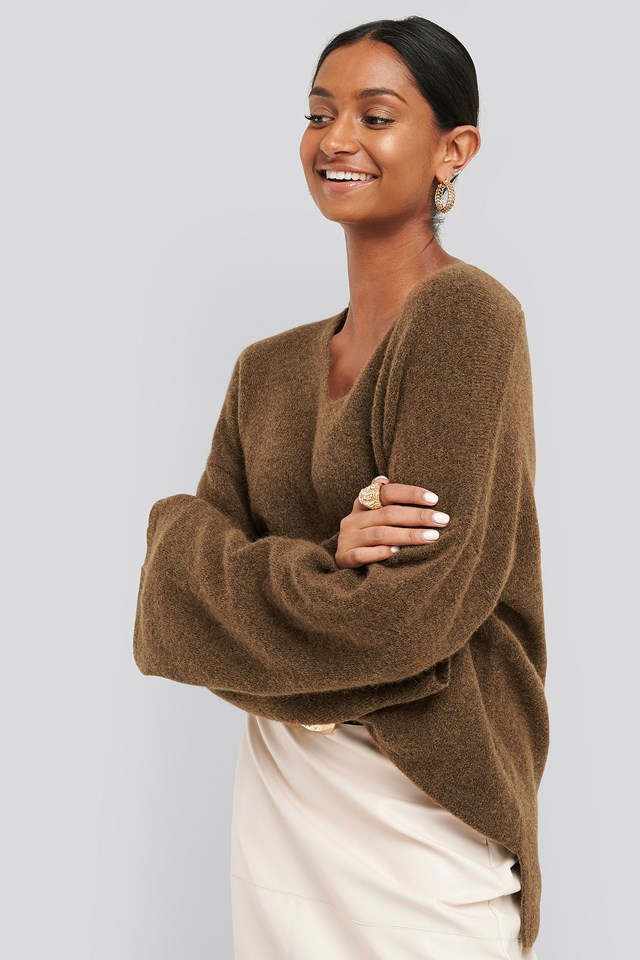 Alpaca Knitted V-Neck Sweater Mole