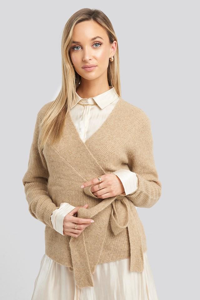 Alpaca Wrap Around Knitted Sweater Beige