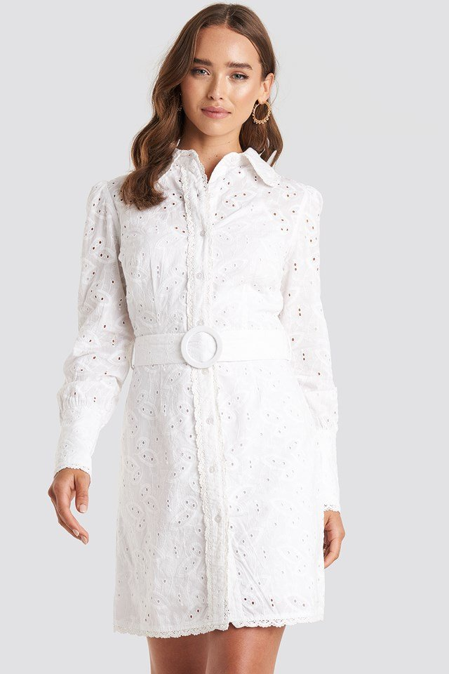 White Anglaise Collar Mini Dress