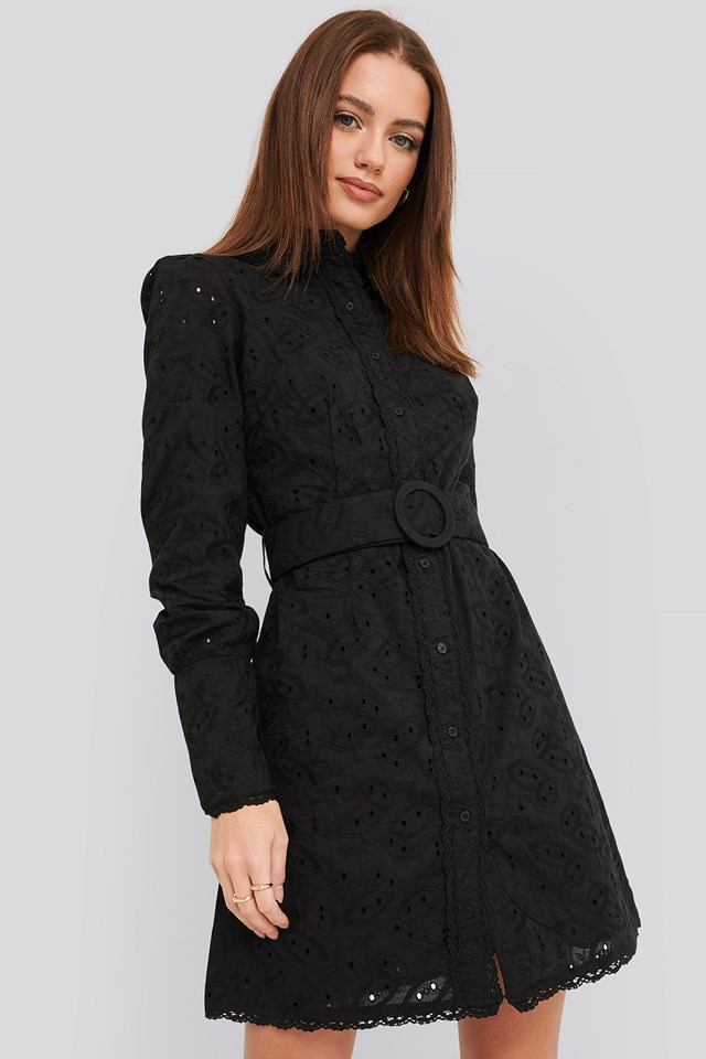 Anglaise Collar Mini Dress Black