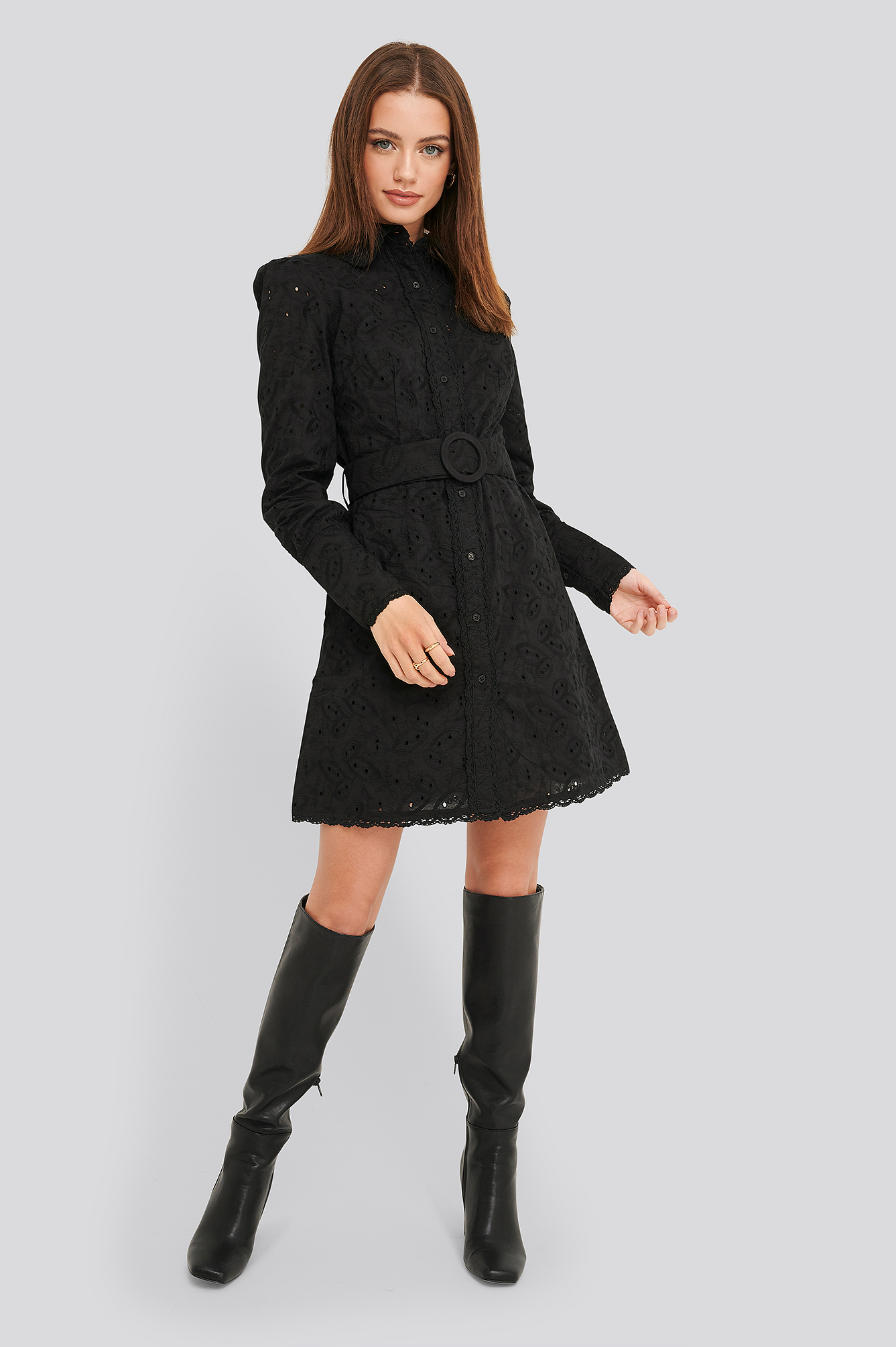 Black Anglaise Collar Mini Dress