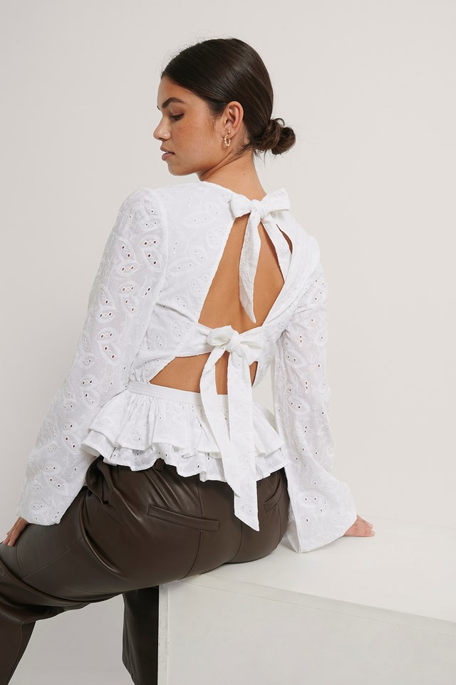 White Anglaise Open Back Top