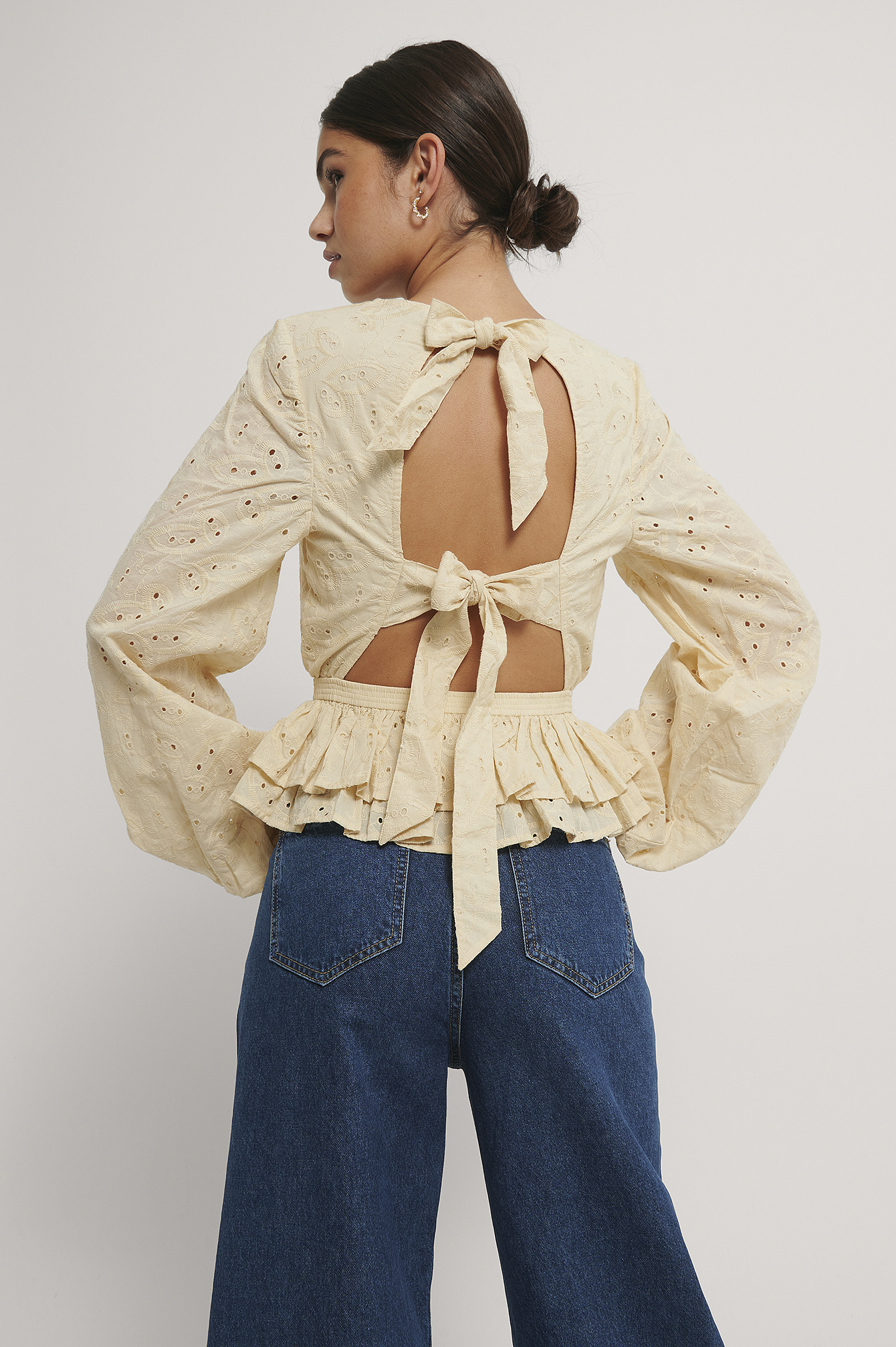 Beige Anglaise Open Back Top
