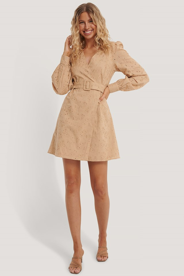 Anglaise Overlap Dress Beige