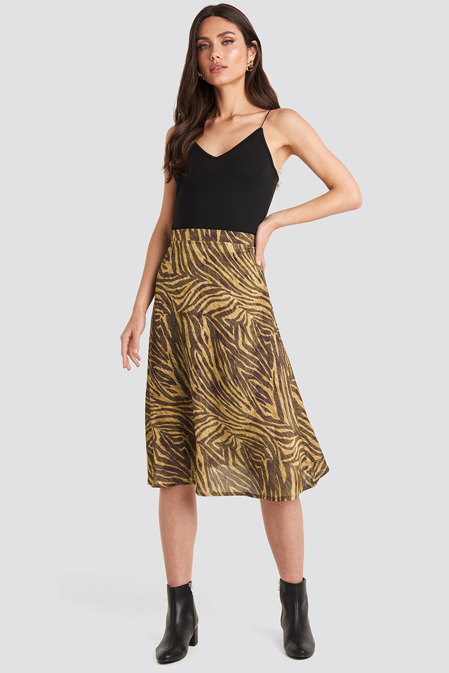 Zebra Animal Printed Midi Skirt