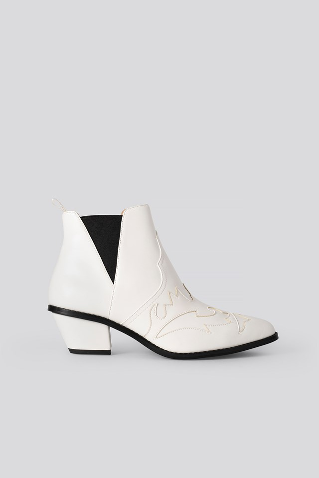 Ankle Cowboy Bootie White