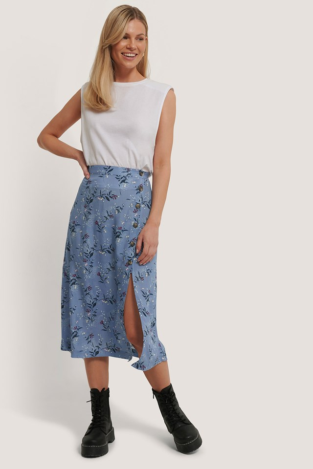 Floral Print Asymmetrical Button Midi Skirt