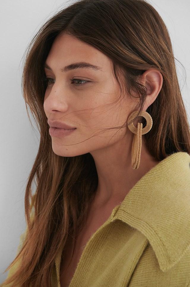 Gold Asymmetric Cage Earrings