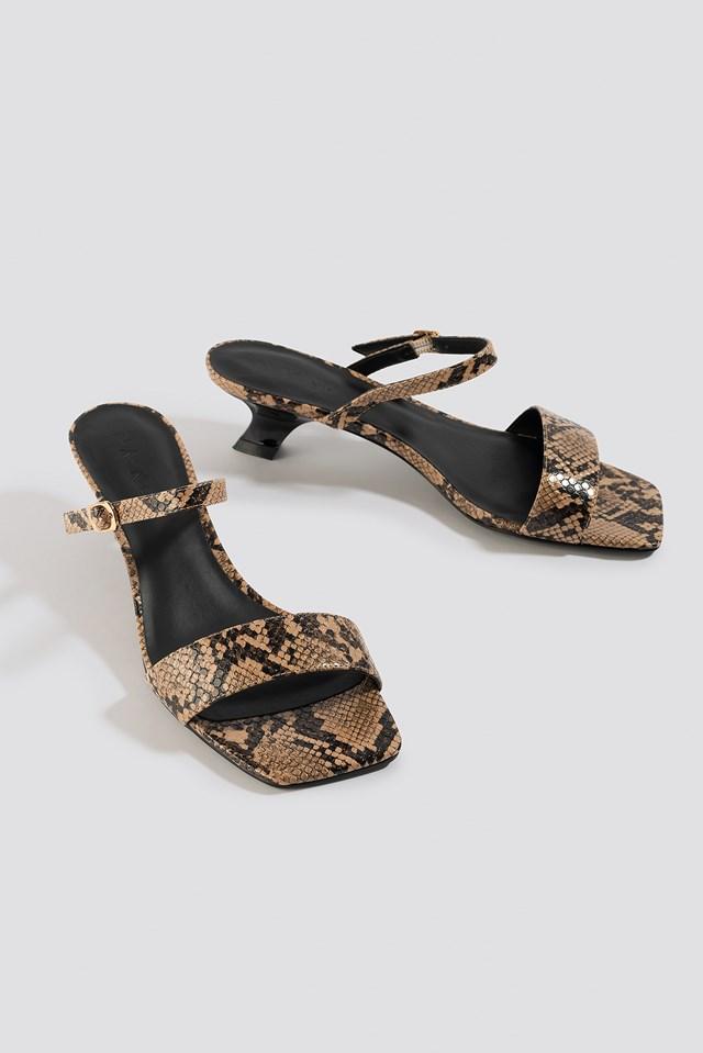 Asymmetric Heel Squared Sandals Snake
