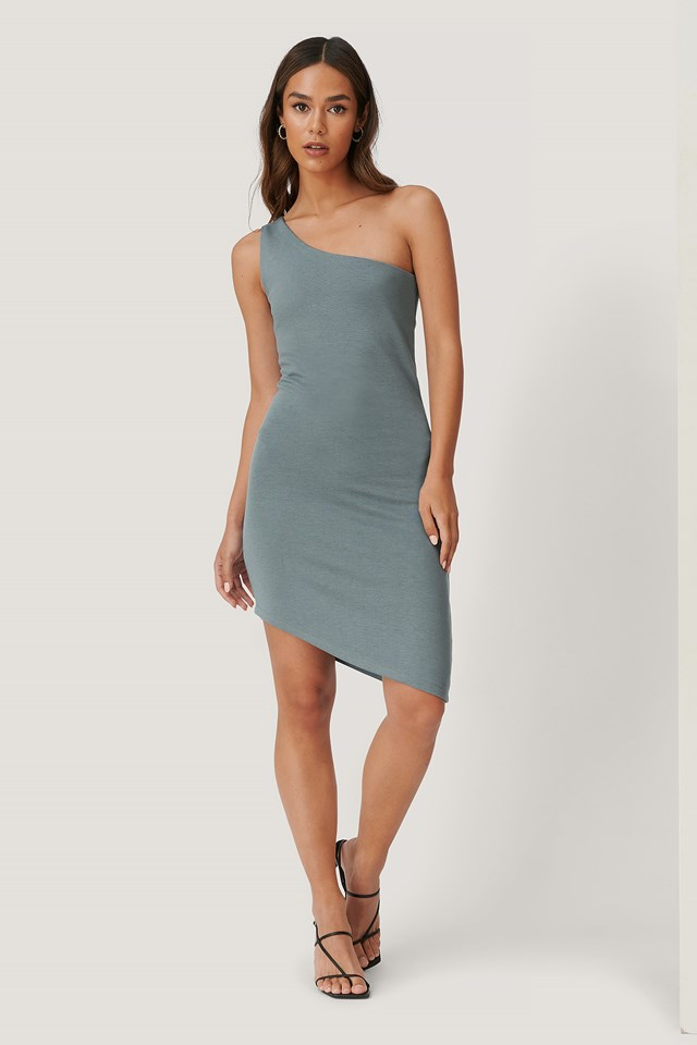 Asymmetric Jersey Dress Grey