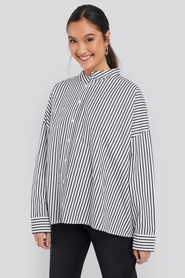 Asymmetric Oversized Shirt Stripe Black/White