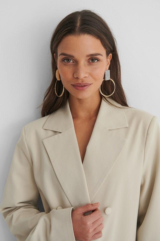 Gold Asymmetric Stone Earrings
