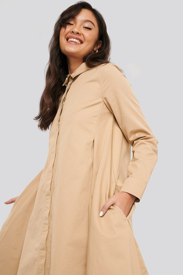Asymmetrical Shirt Dress Beige