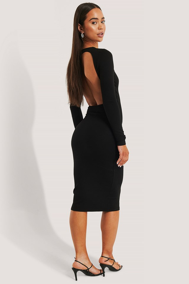 Back Details Midi Dress Black