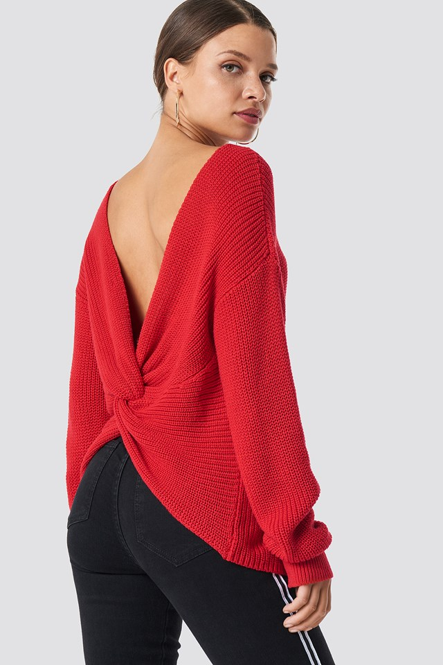 Back Twisted Knitted Sweater Red