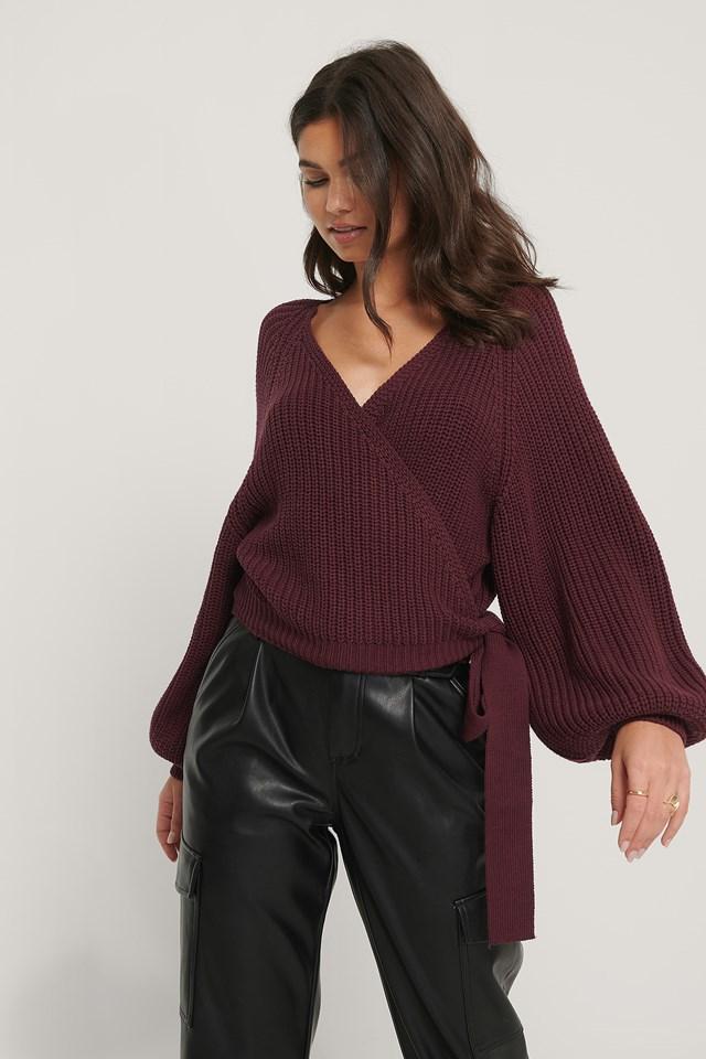 Balloon Sleeve Overlap Knitted Sweater Burgundy