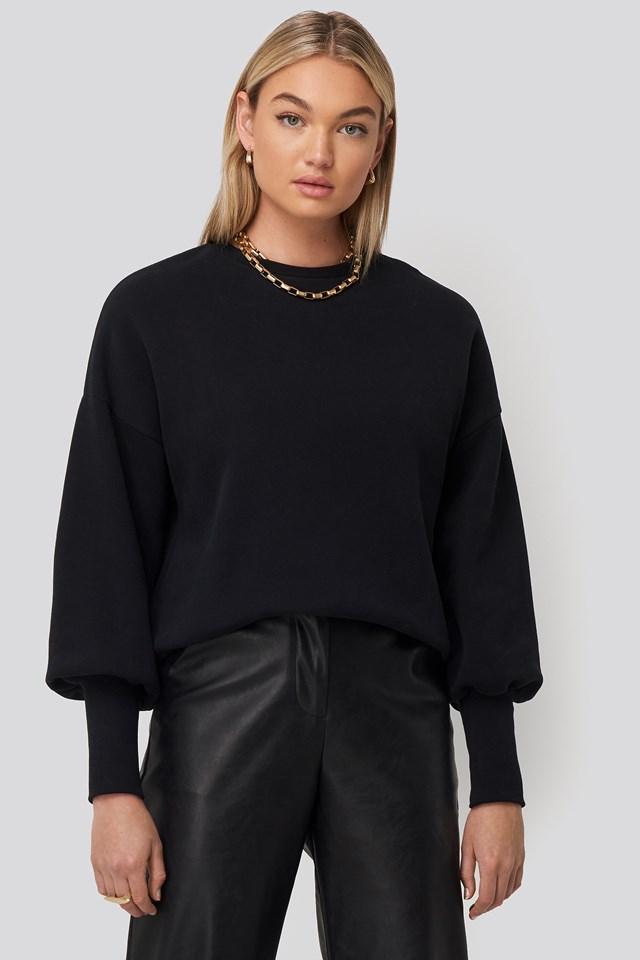 Balloon 3/4 Sleeve Sweatshirt Black