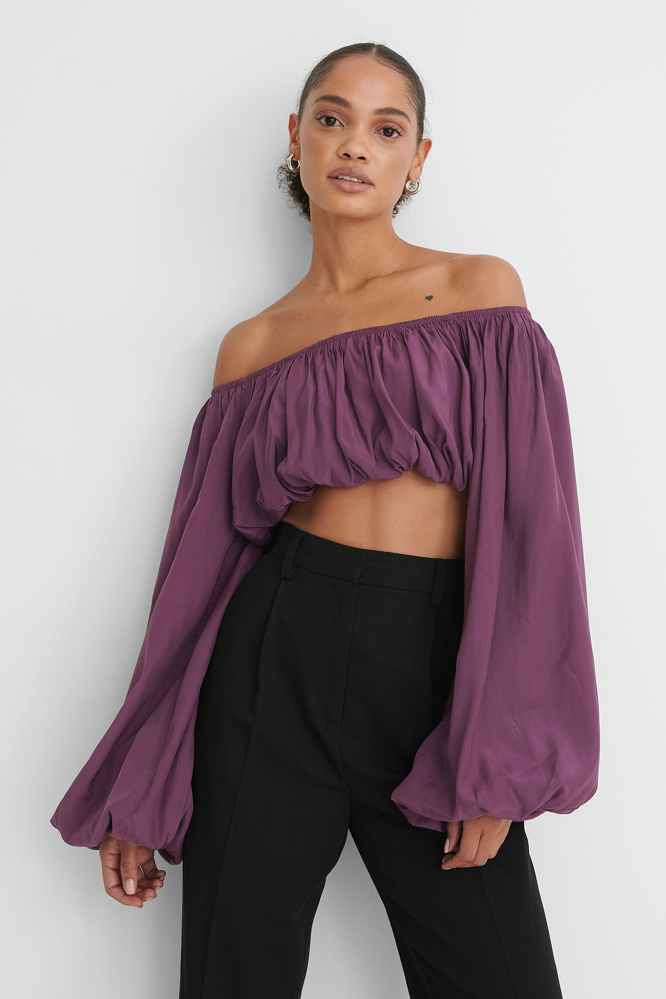 Lilac Balloon Long Sleeved Cropped Top