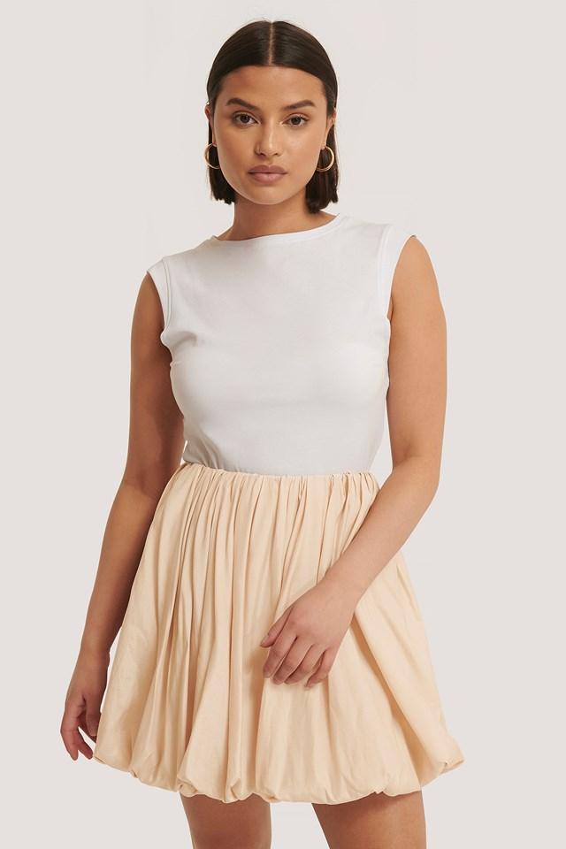Balloon Mini Skirt Beige