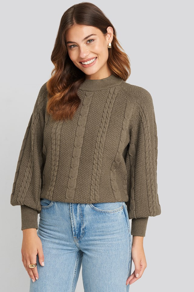 Brown Balloon Sleeve Cable Knitted Sweater