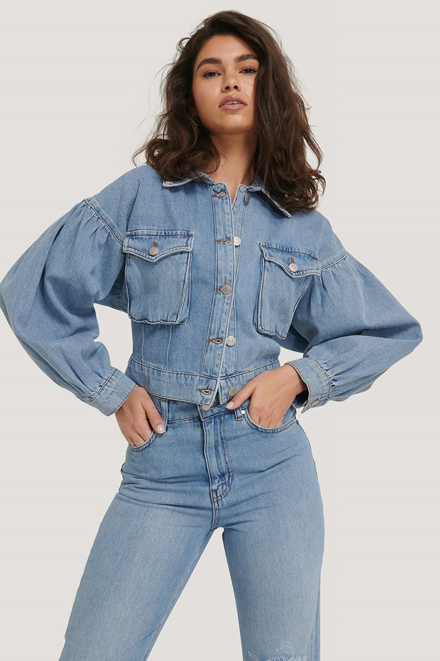Balloon Sleeve Cropped Denim Jacket Blue Wash