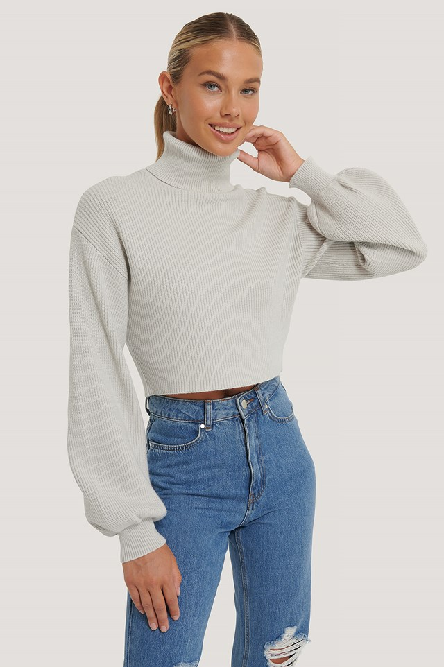 Balloon Sleeve Cropped Polo Sweater Grey