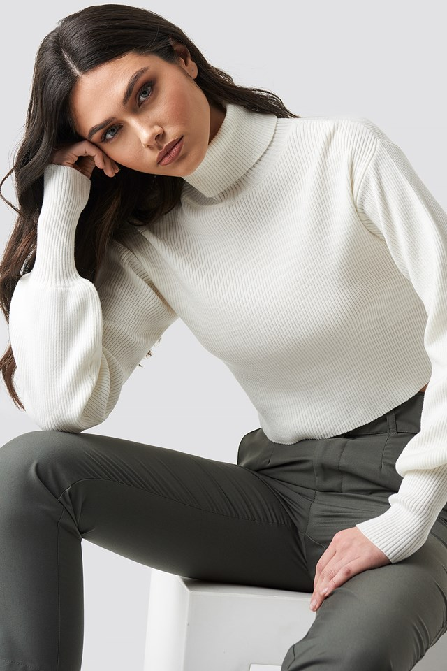 Balloon Sleeve High Neck Short Sweater White