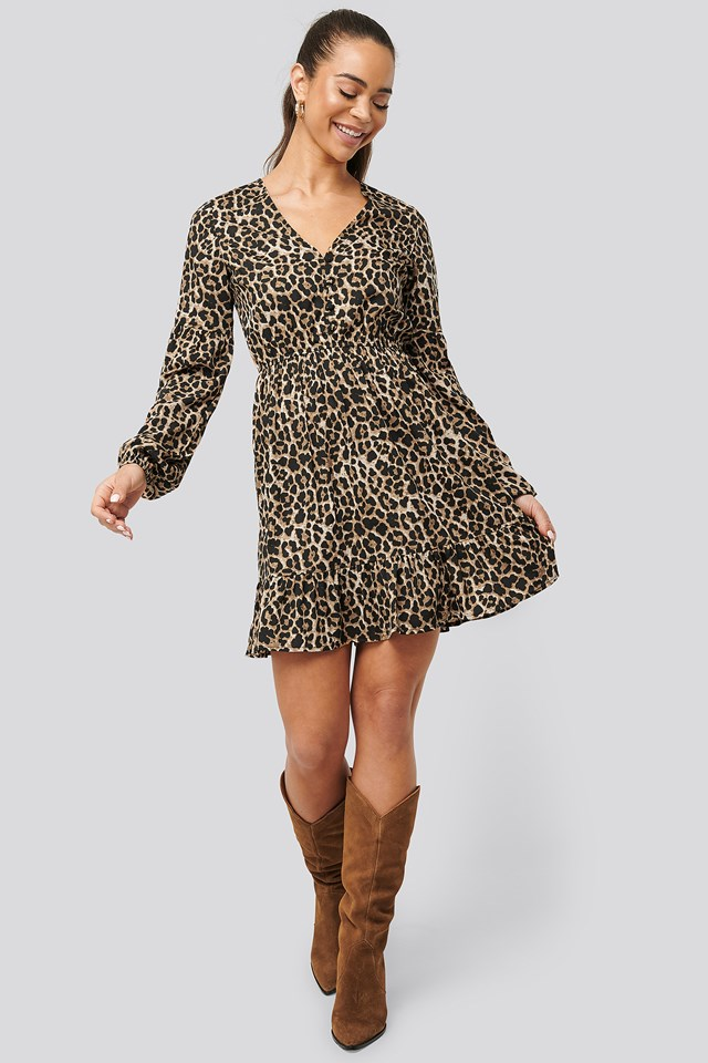 Balloon Sleeve Mini Dress Leo