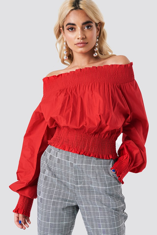 Balloon Sleeve Off Shoulder Blouse Red