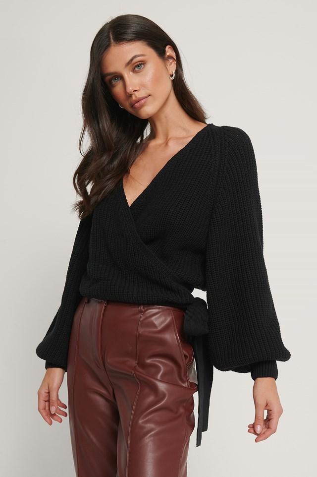 Balloon Sleeve Overlap Knitted Sweater Black
