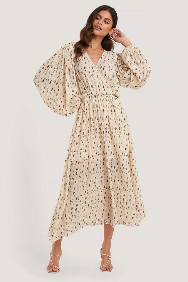 Balloon Sleeve Overlap Structured Dress Cream Floral