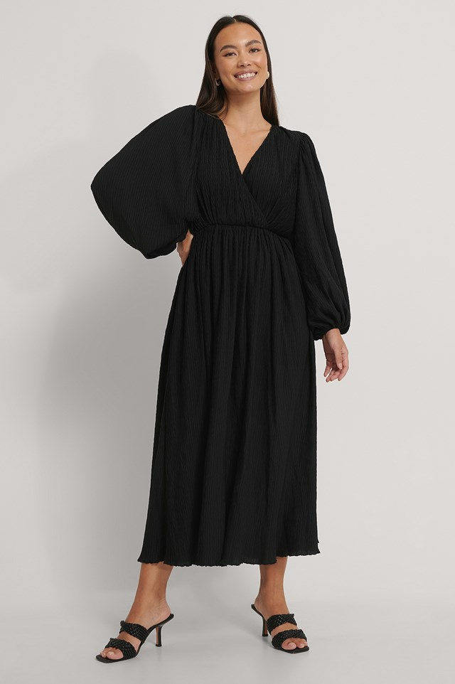Black Balloon Sleeve Overlap Structured Maxi Dress
