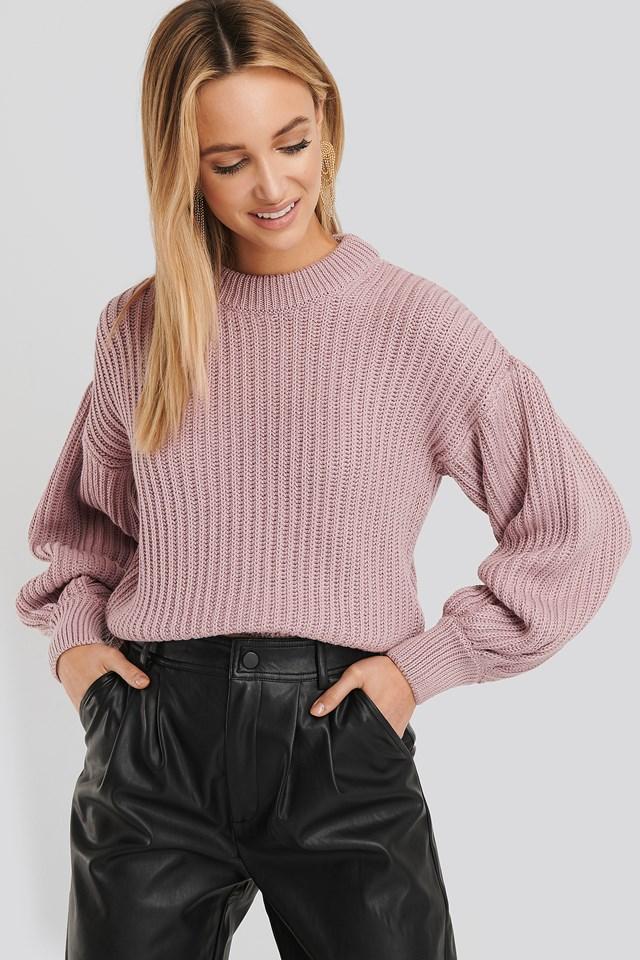 Sweter Z Balonowymi Rękawami Lilac