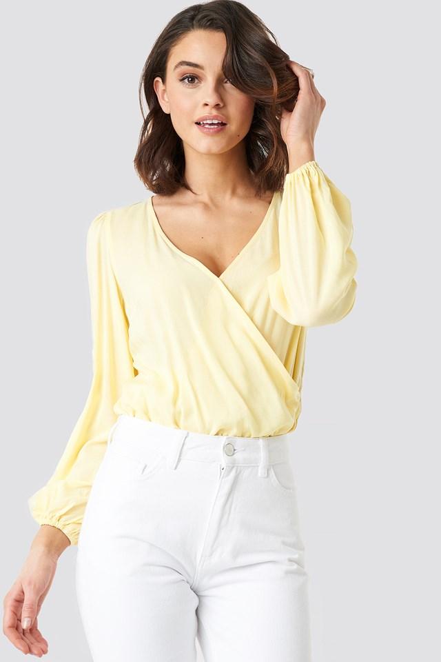 Light Yellow Balloon Sleeve Short Blouse