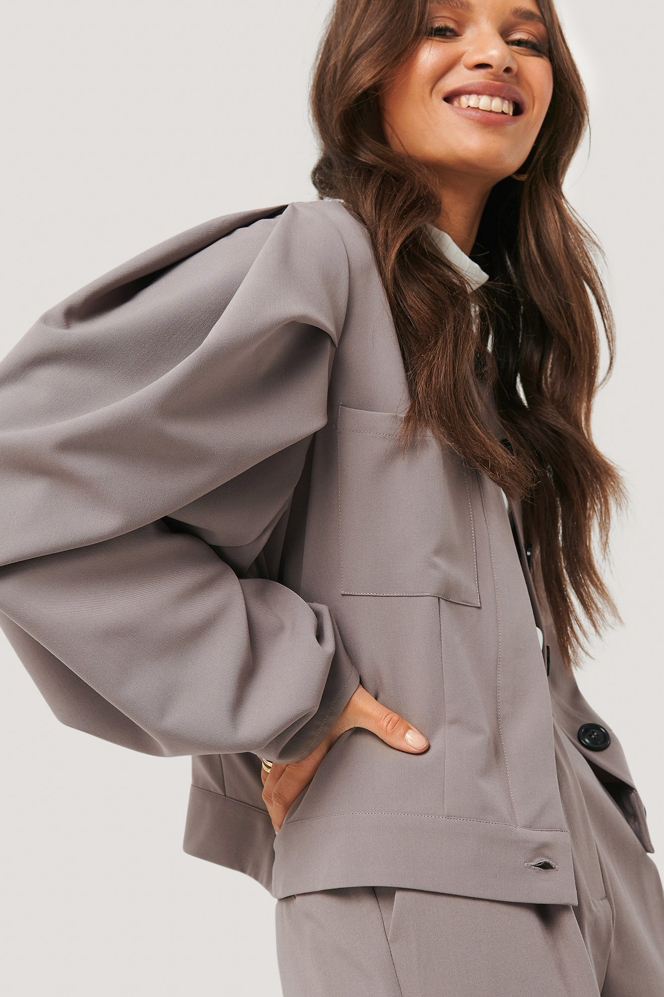 Dusty Plum Balloon Sleeve Short Jacket