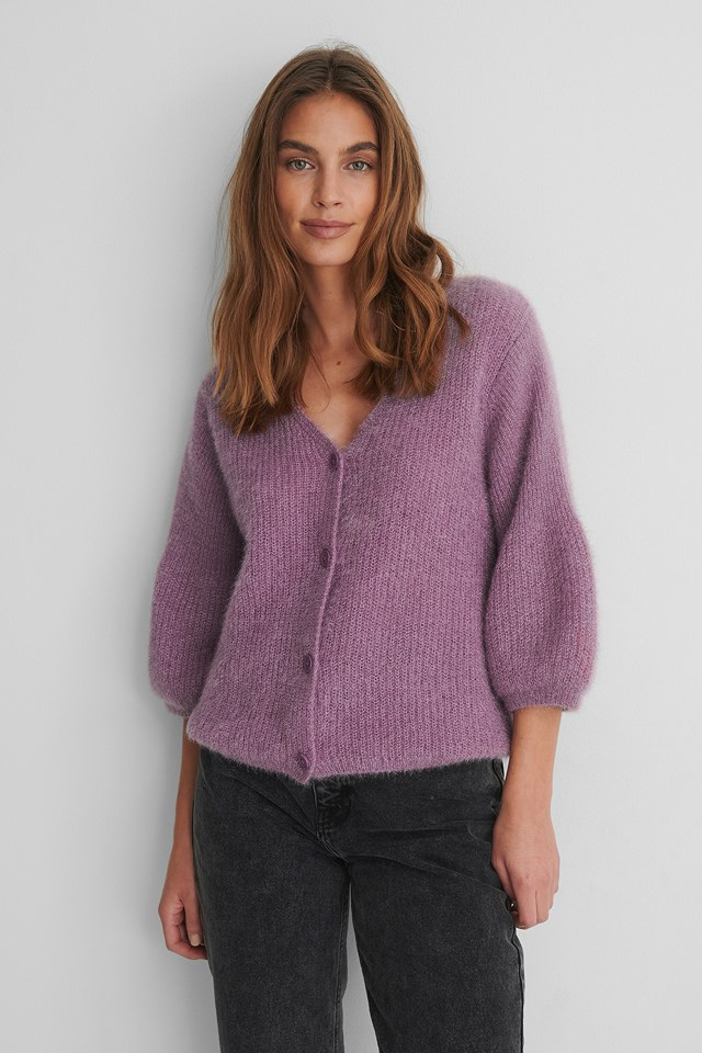 Purple Balloon Sleeve Short Knitted Cardigan