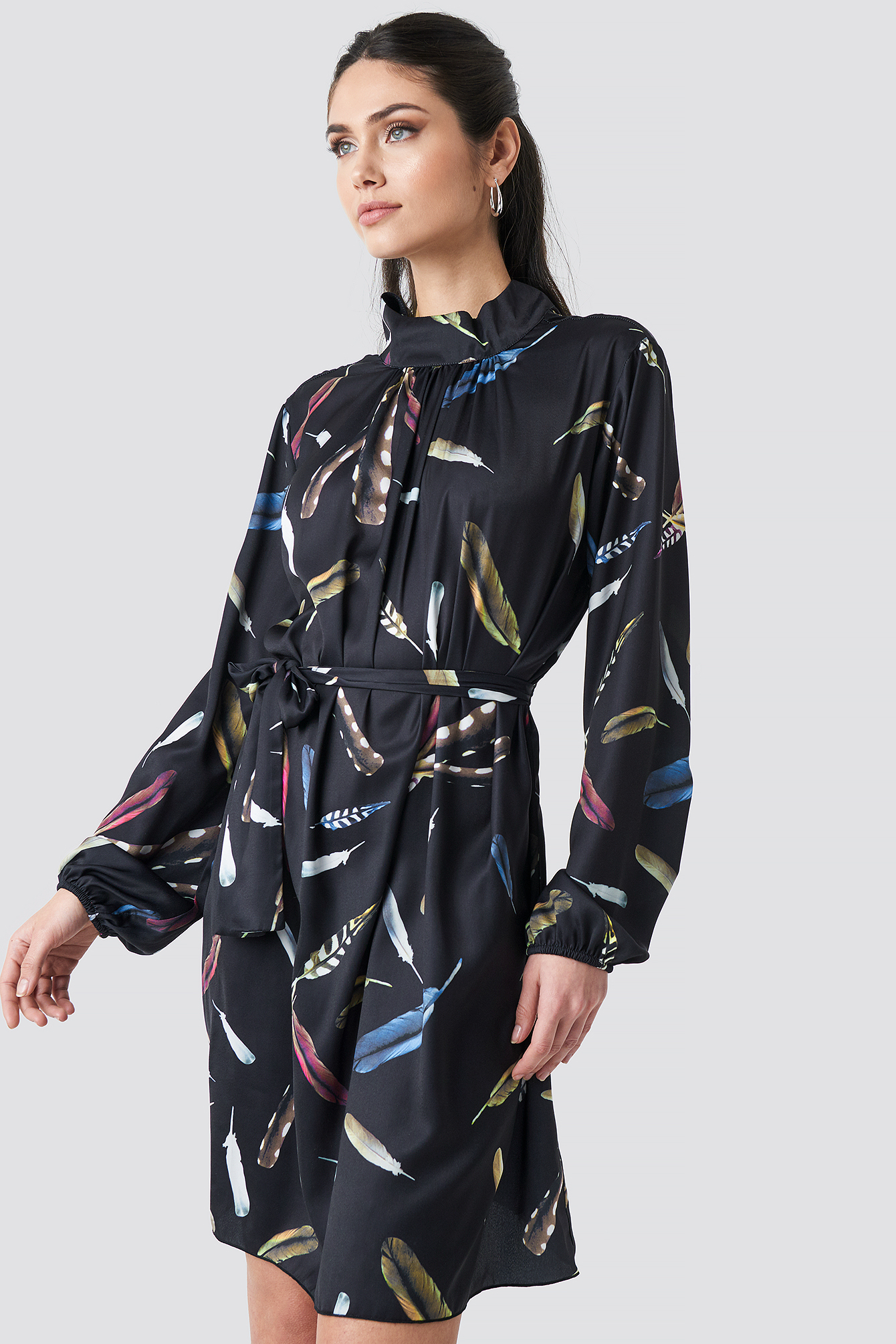 Leaf Printed Balloon Sleeve Tied Waist Printed Dress