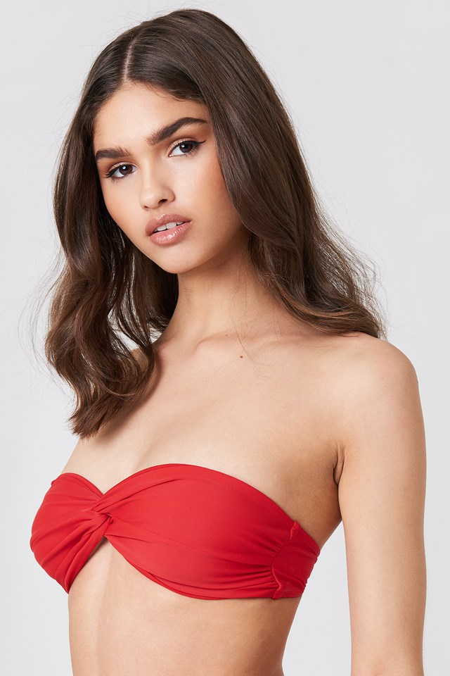 Red Bandeau Knot Bikini Top